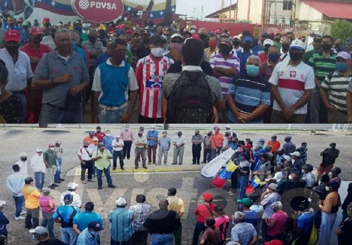 Petroleros de Zulia y Anzoátegui exigiendo la libertad de Eudis Girot y demás trabajadores presos